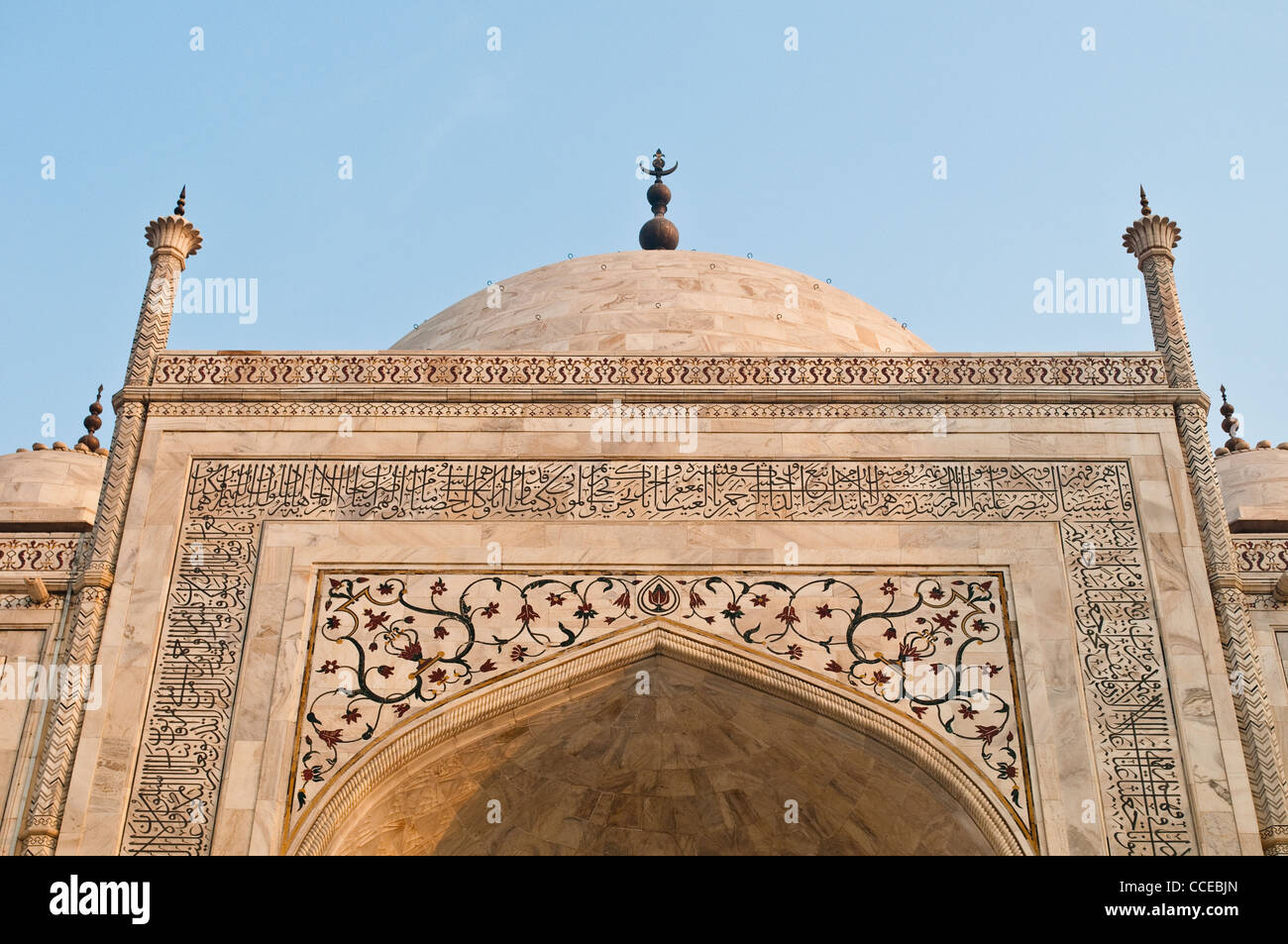 Spandrel detail with floral pattern of precious stones, Taj Mahal, Agra, India - Stock Image
