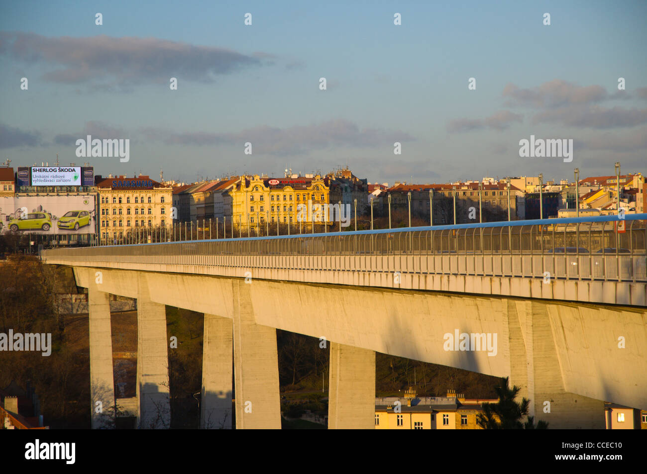 Nuselsky Most the Nusle flyover bridge (1973) crossing Botic Valley in Nusle district Prague Czech Republic Europe - Stock Image