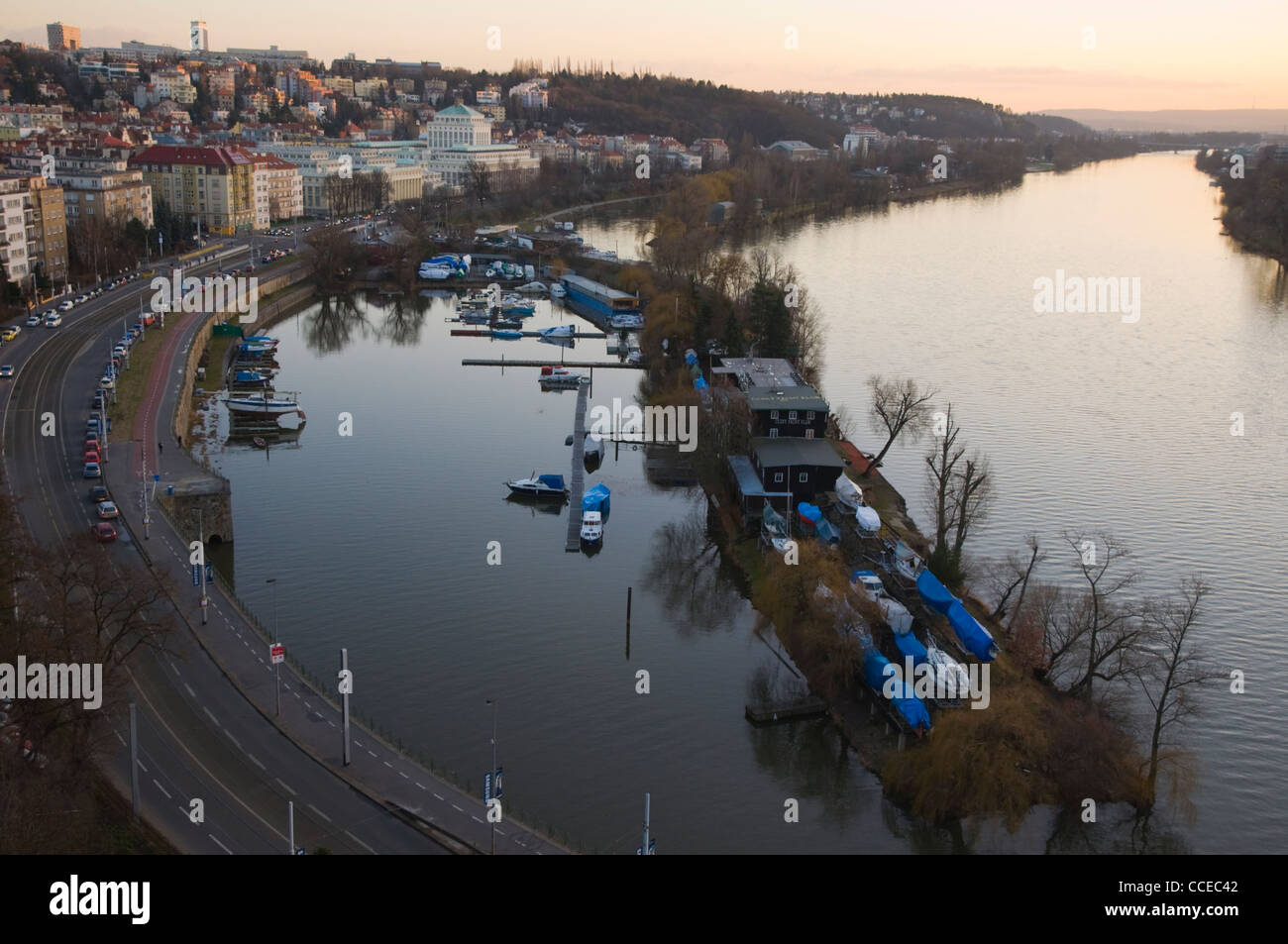 Podolski nabrezi Vltava riverside street Prague Czech Republic Europe - Stock Image