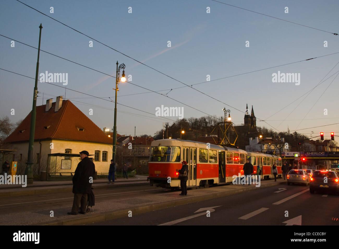 Rasinovo nabrezi riverside street Vysehrad district Prague Czech Republic Europe - Stock Image
