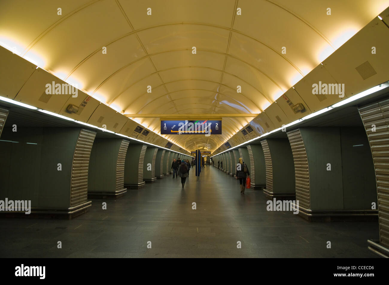 Refurbished Karlovo Namesti metro underground station new town Prague Czech Republic Europe - Stock Image