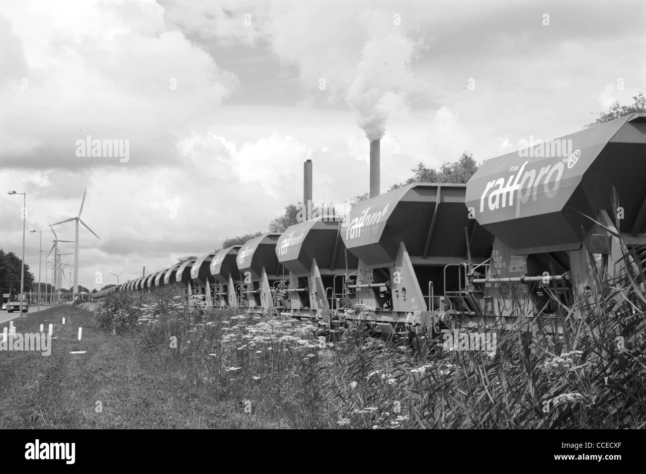Train with coal for powerplant Hemweg, Amsterdam, Netherlands - Stock Image