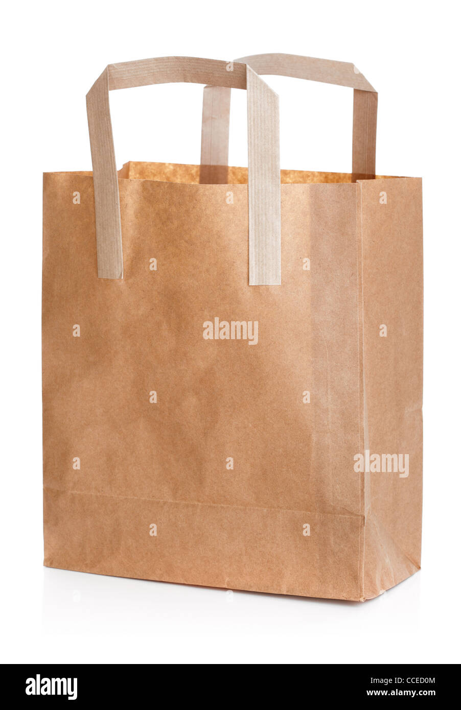 Recycled brown paper shopping bag - Stock Image