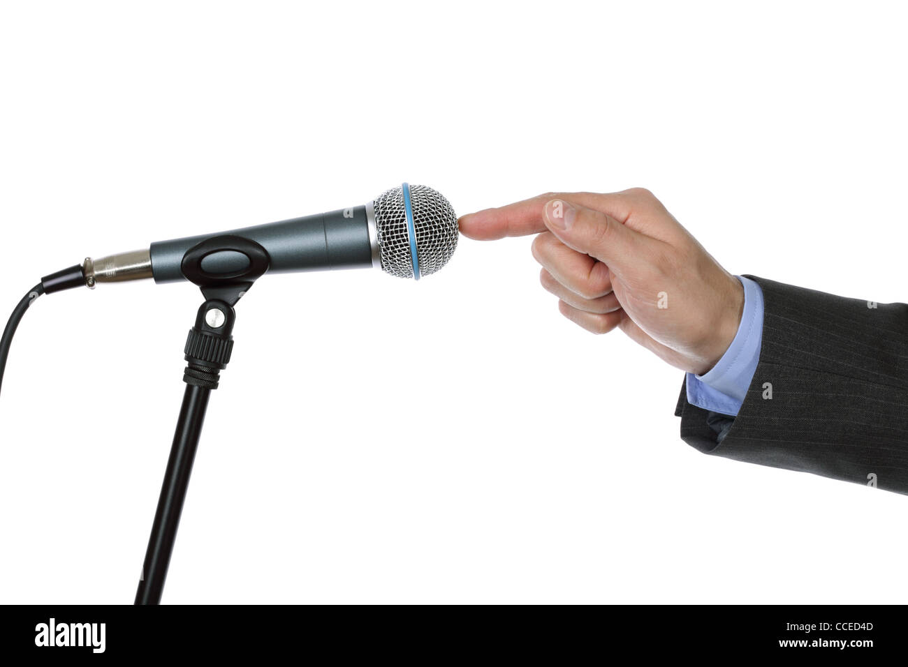 Interview with microphone - Stock Image