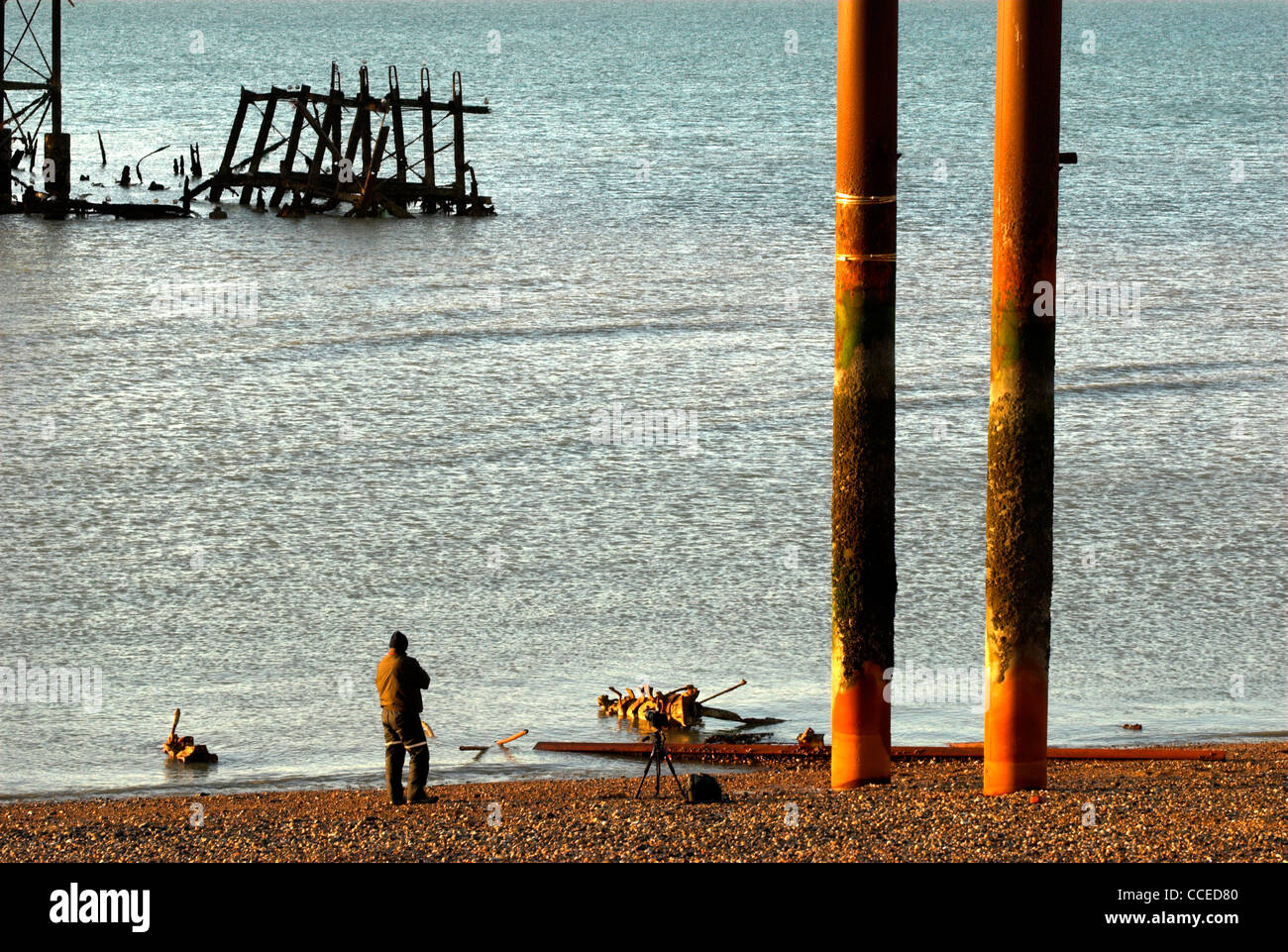 Part of the remains of the West Pier Brighton, East Sussex, England, UK. - Stock Image