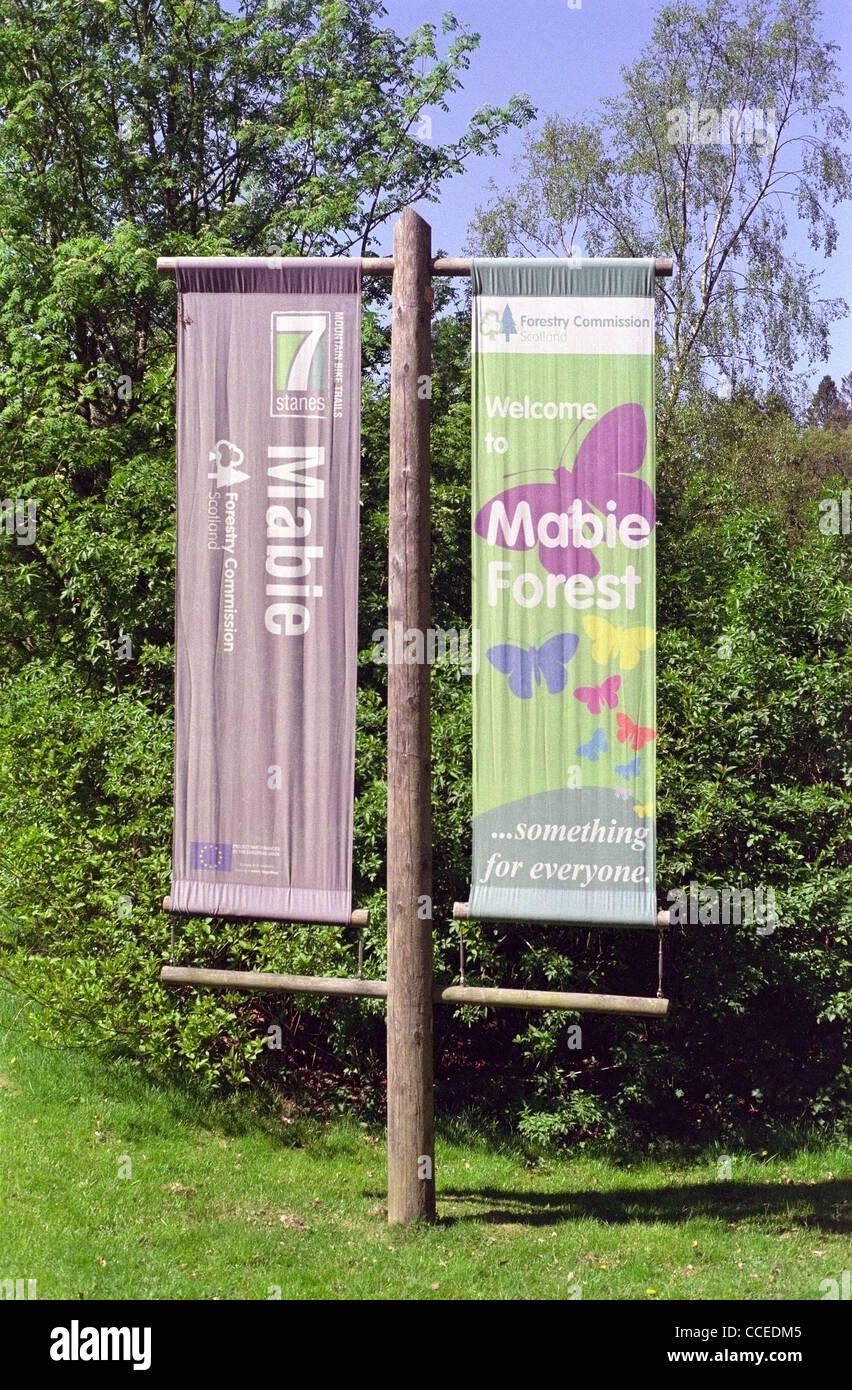 welcome banners to mabie forest dumfries and galloway scotland uk