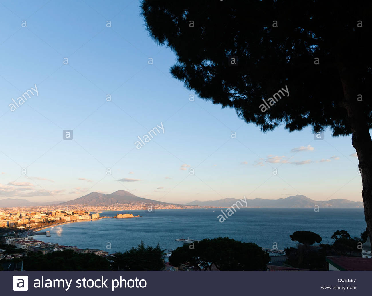 The gulf of Naples, Italy, seen from the hill of Posillipo at sunset - Stock Image