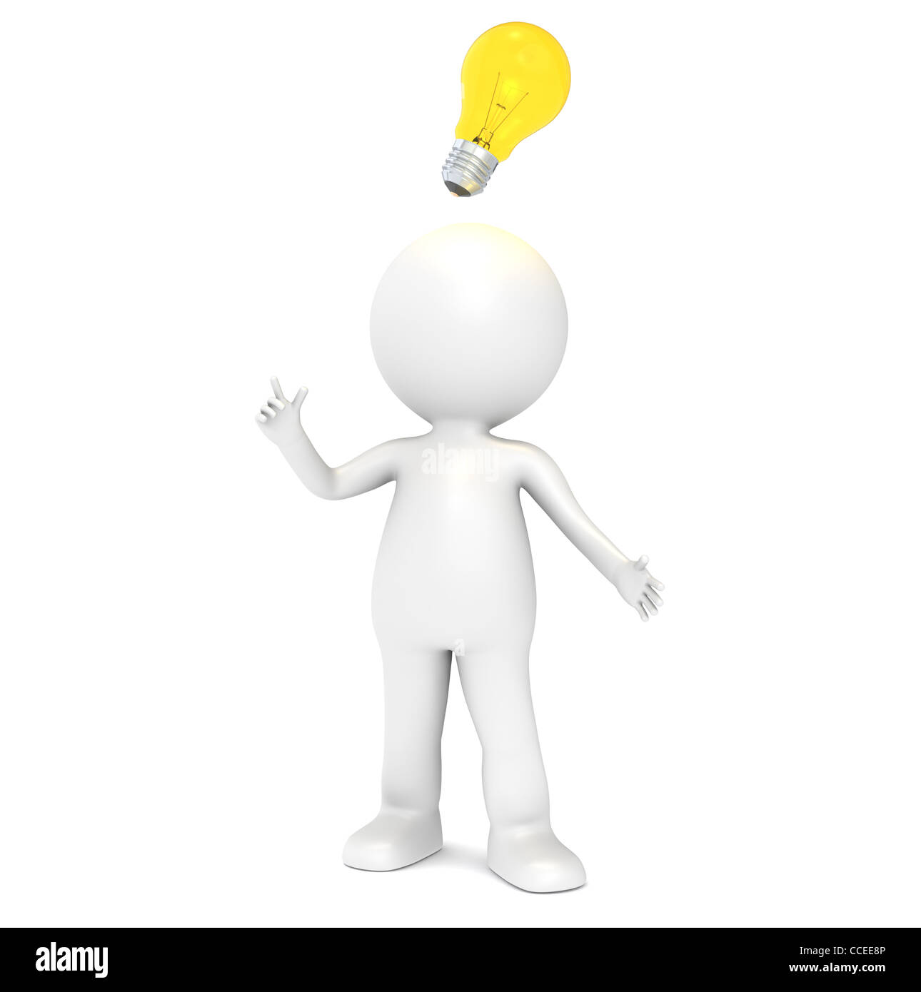 3D Little Human Character Having An Idea Illuminative Light Bulb People Series