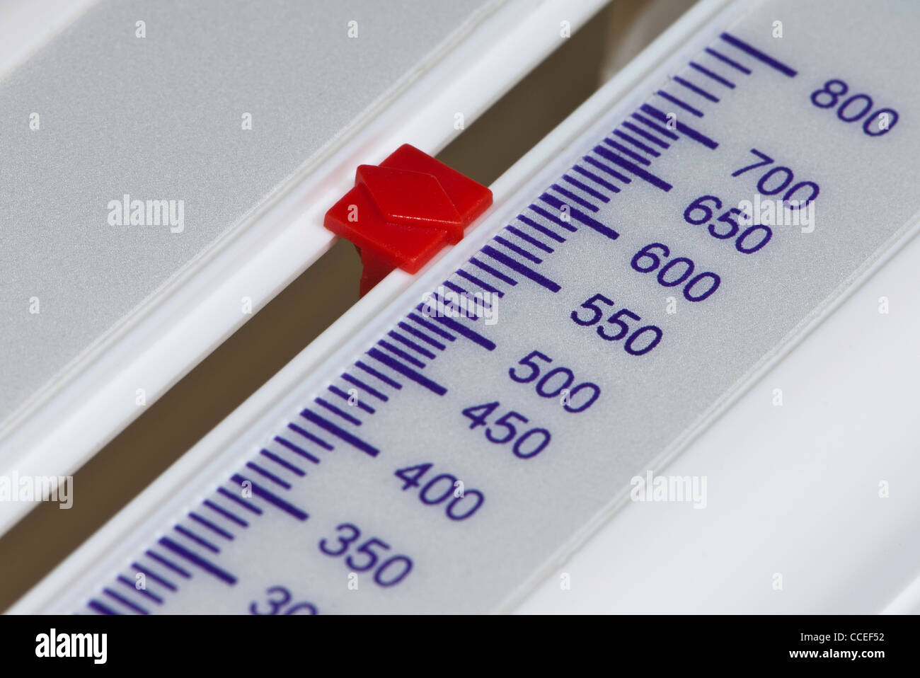 Close up of scale on a Peak flow meter at 550 - Stock Image