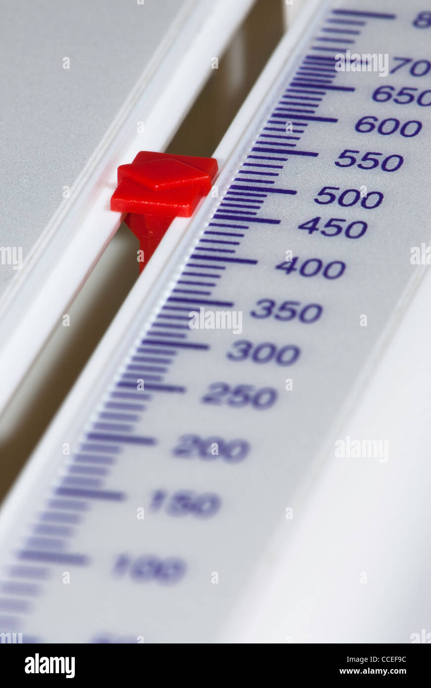 Close up of scale on a Peak flow meter, at 500. - Stock Image