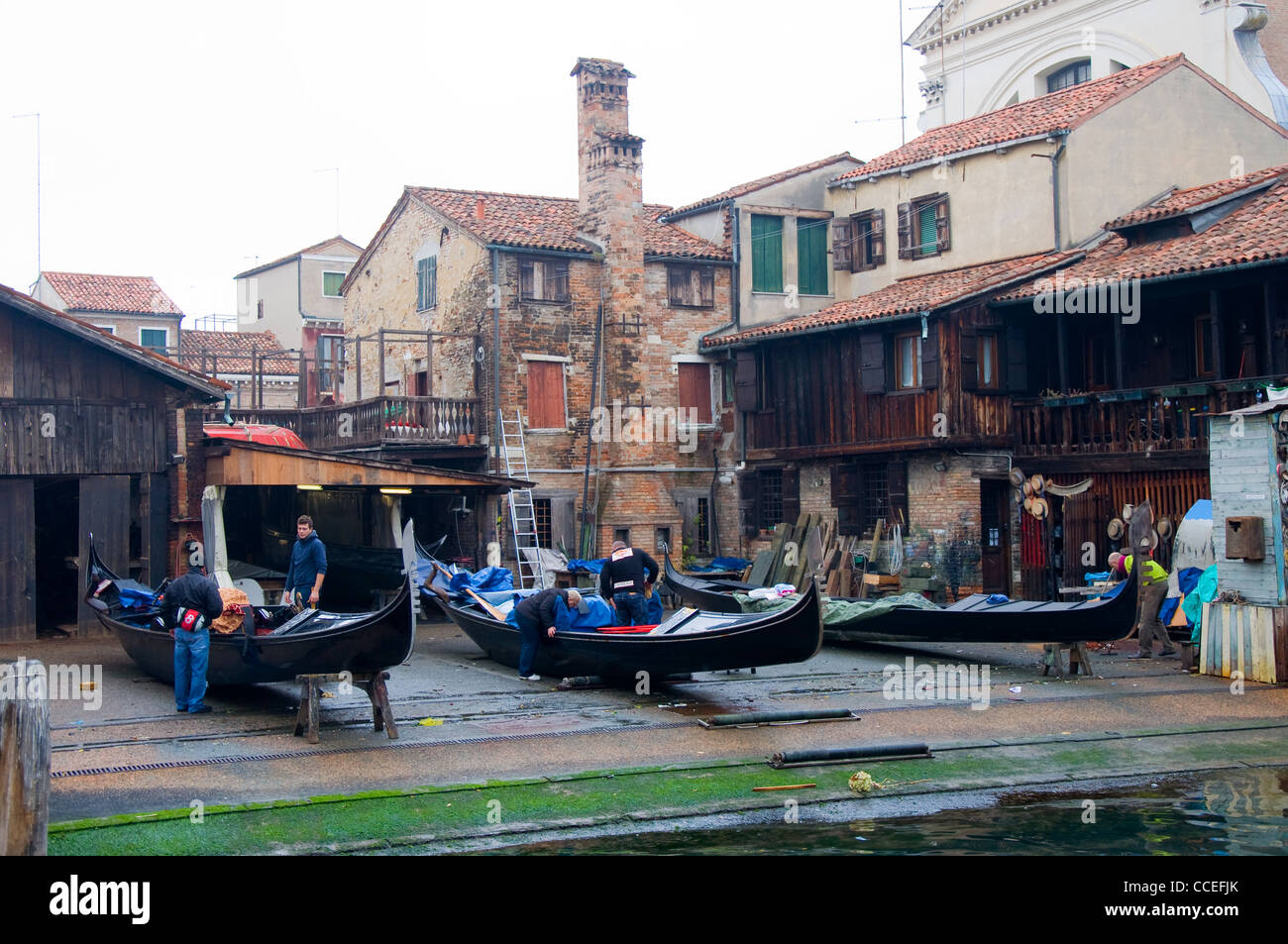 Gondolas being repaired, Venice, Italy - Stock Image