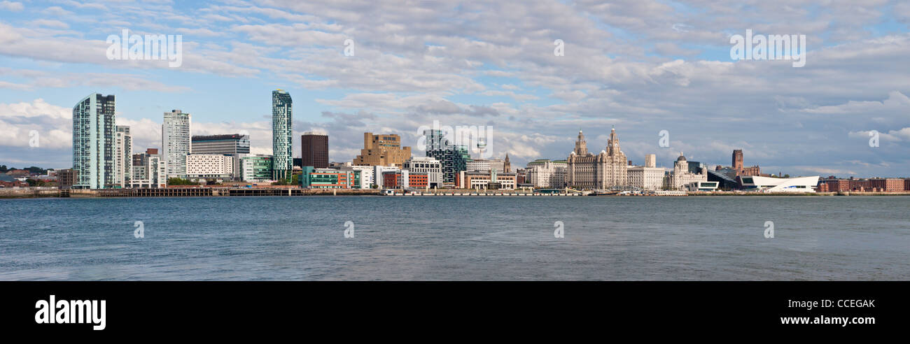 Panoramic shot of Liverpool skyline taken across the river Mersey. Merseyside, England. - Stock Image