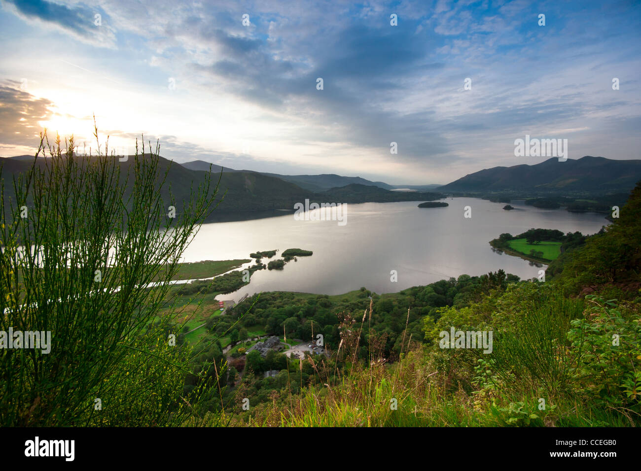 View over Derwentwater from Screes Coppice in the Lake District, Cumbria, England. - Stock Image