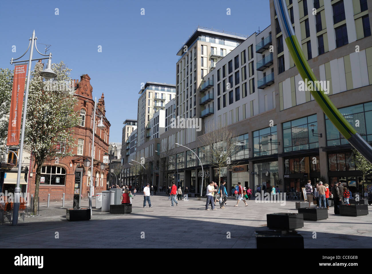 The Hayes Shopping precinct, with the St Davids 2 shopping residential complex - Stock Image