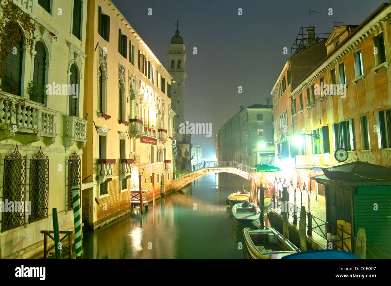 Canals at night, Venice, Italy - Stock Image