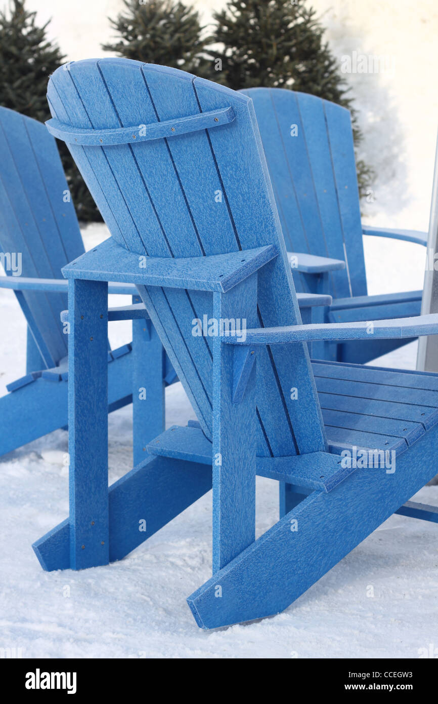 Frosty Blue Adirondack Chairs Outdoors In The Winter Stock
