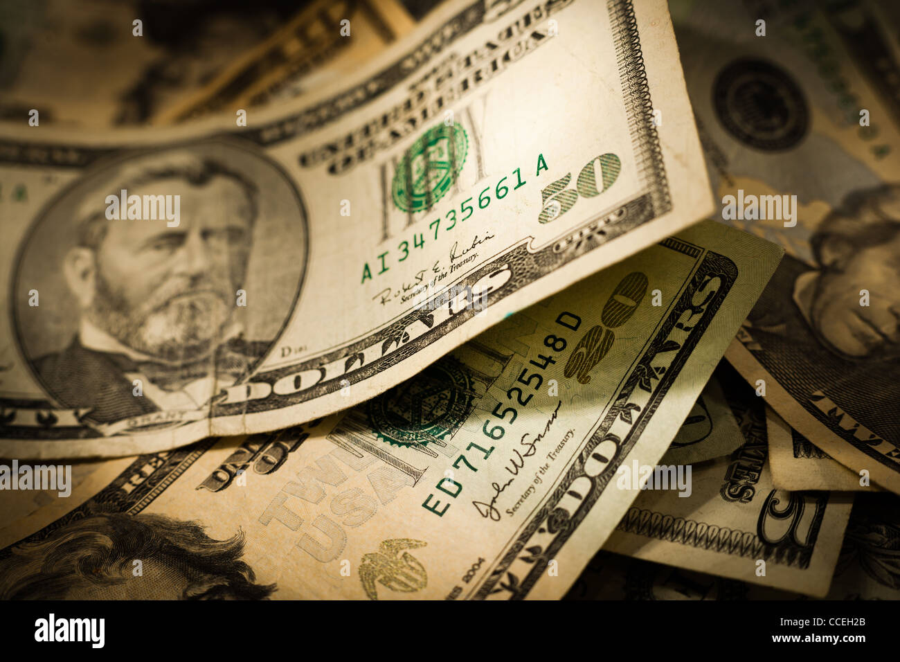 American dollars (currency) highlighting a $50 USD bill. - Stock Image