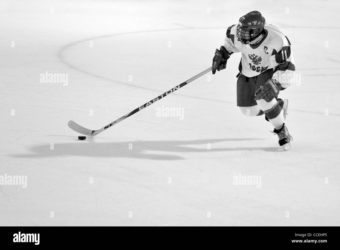 Action as Russia take on Finland in the final of the first Youth Winter Olympic Games in Innsbruck, Austria for - Stock Image