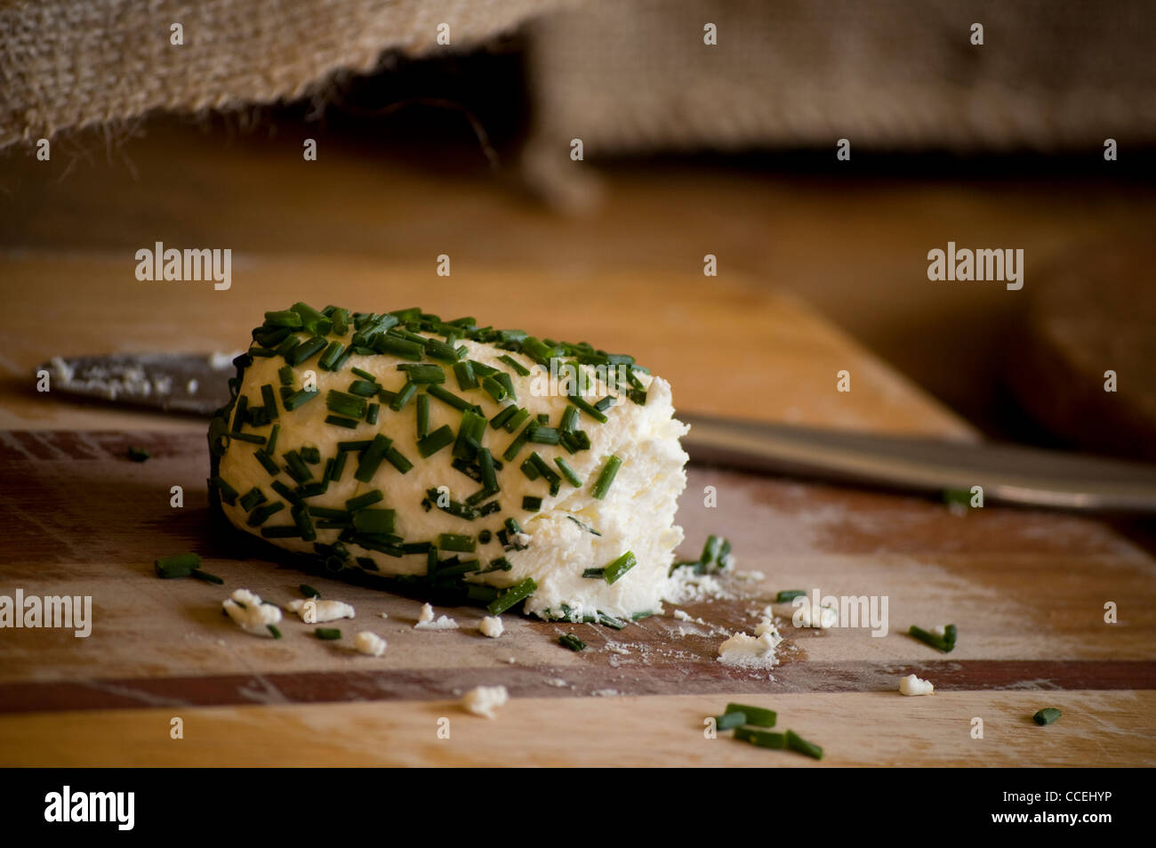 Chèvre Goat Cheese with Chives - Stock Image