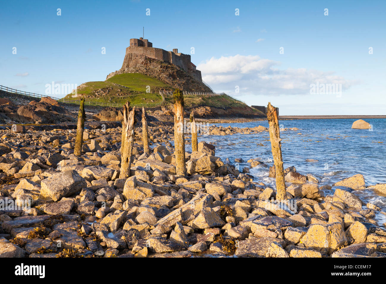 Lindisfarne Castle on Lindisfarne or Holy Island, just off the coast of Northumberland, England. - Stock Image