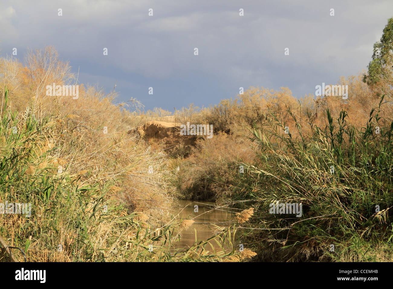 Jordan Valley, the Jordan River at Qasr al Yahud - Stock Image