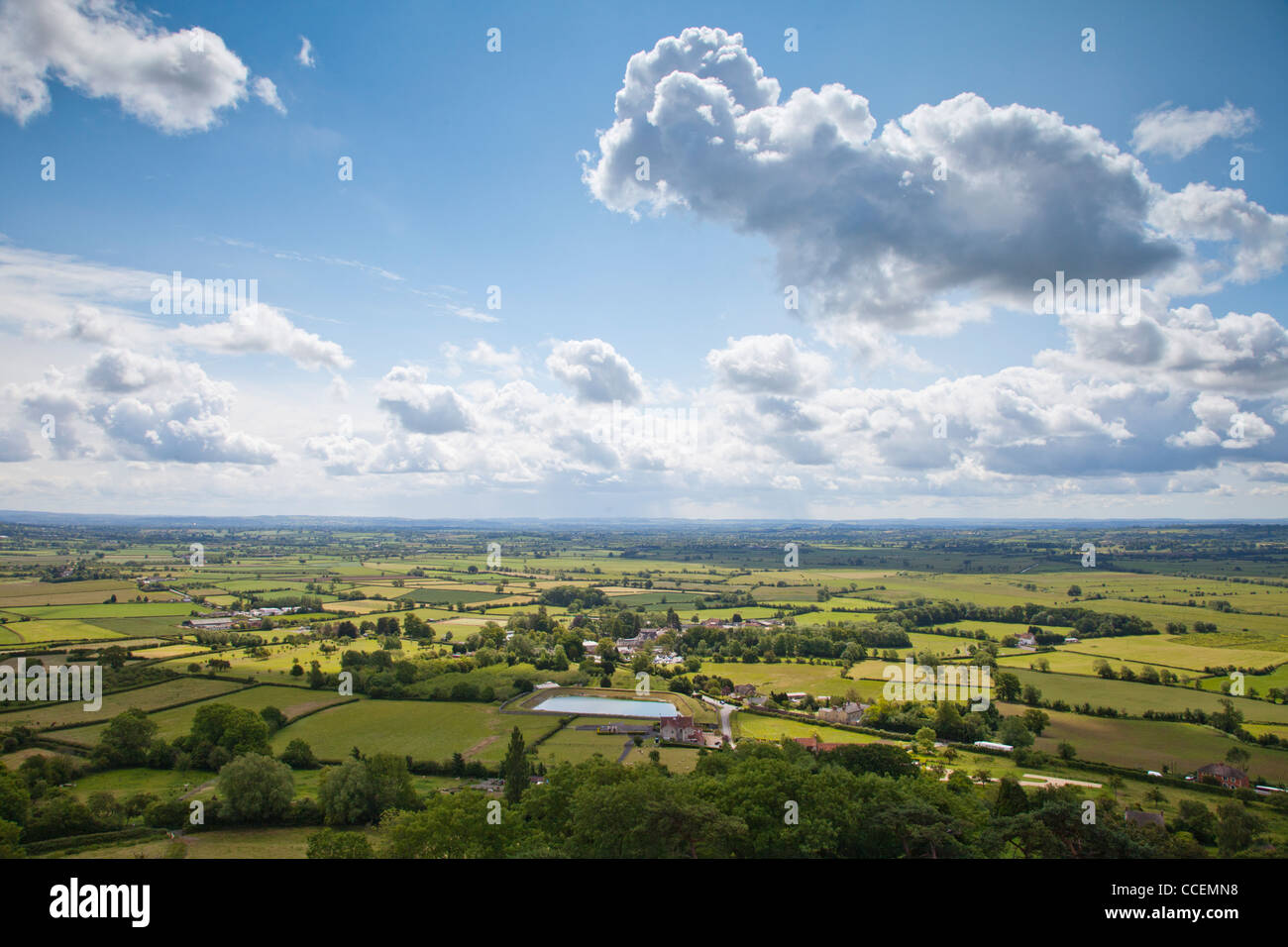 A view of the patchwork landscape of the Somerset Levels, from Glastonbury Tor. - Stock Image
