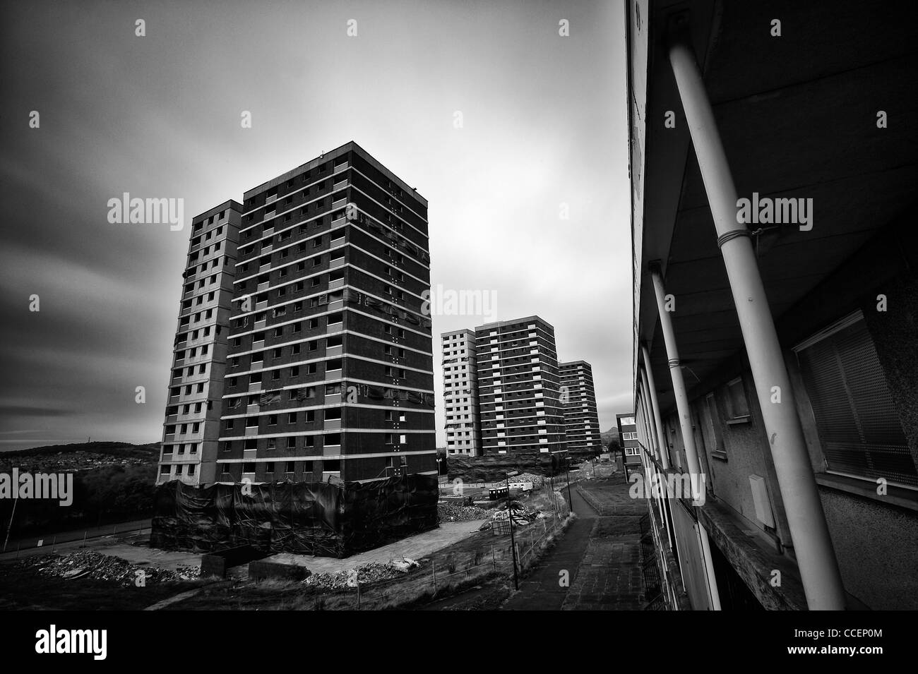 High rises in the Edinburgh suburb of Sighthill is underway - Stock Image