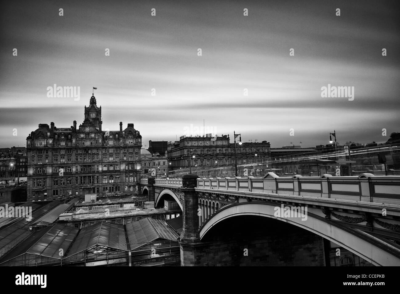 A view from North Bridge in Edinburgh overlooking the five-star Balmoral Hotel and the landmark building Waverley - Stock Image