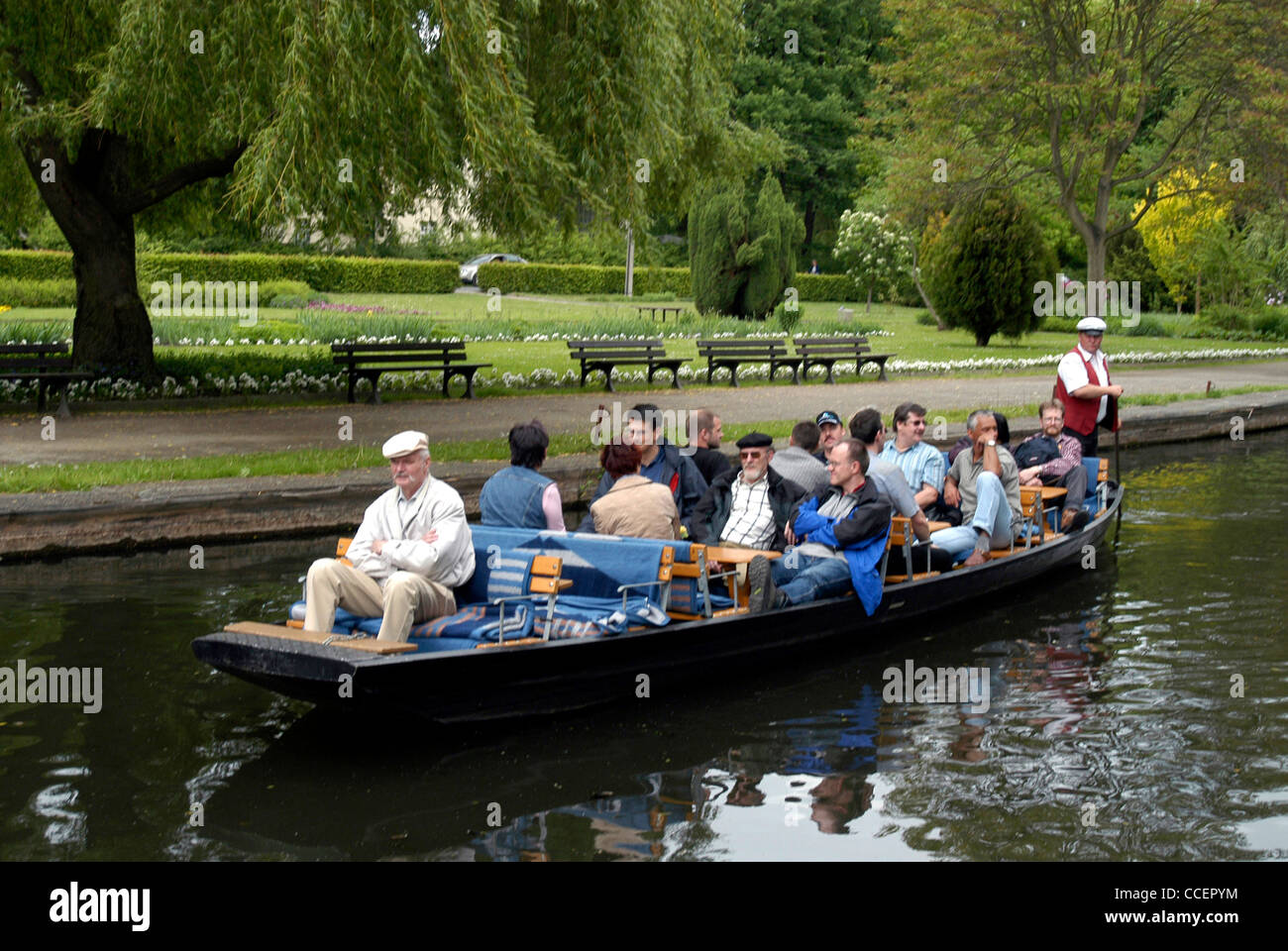 Boat trip in the Spreewald near Luebbenau. - Stock Image