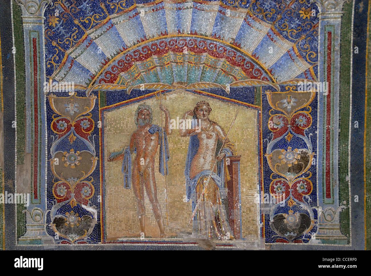 """Herculaneum, """"Casa del Mosaico di Nettuno e Anfitrite"""" (House of the Mosaic of Neptune and Amphitrite). Stock Photo"""