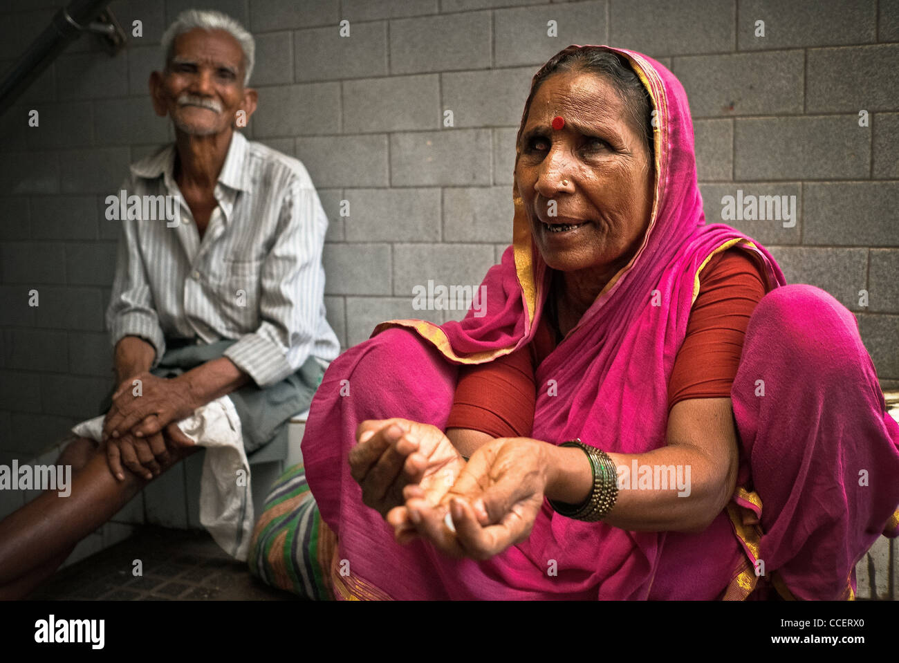 Untouchable and disabled Bombay., Blind beggar. - Stock Image