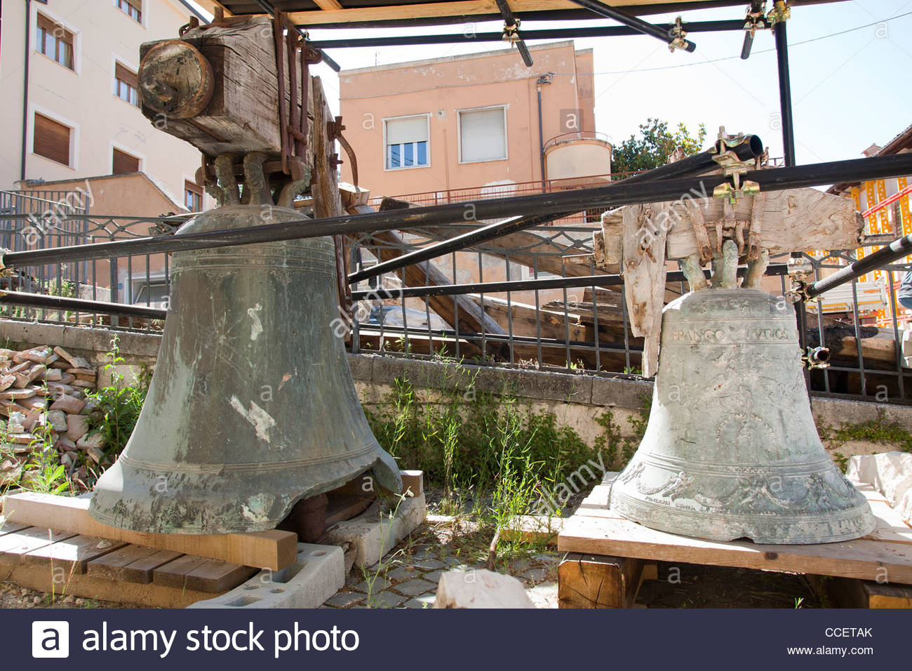 damaged bells,earthquake,06 april 2009,l'aquila,abruzzo,italy,europe - Stock Image