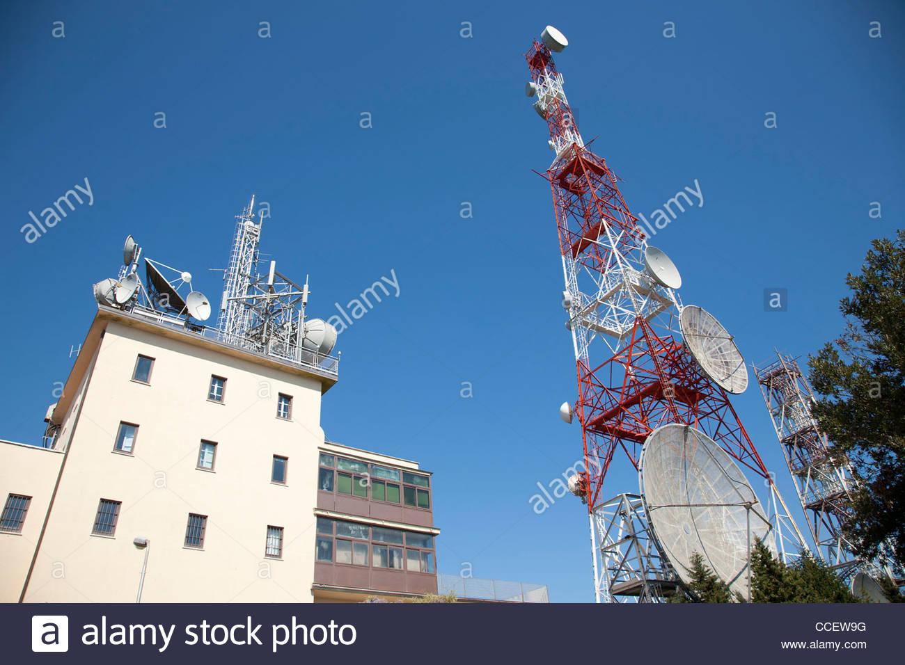 satellite aerials,argentario peninsula,tuscany,italy,europe - Stock Image
