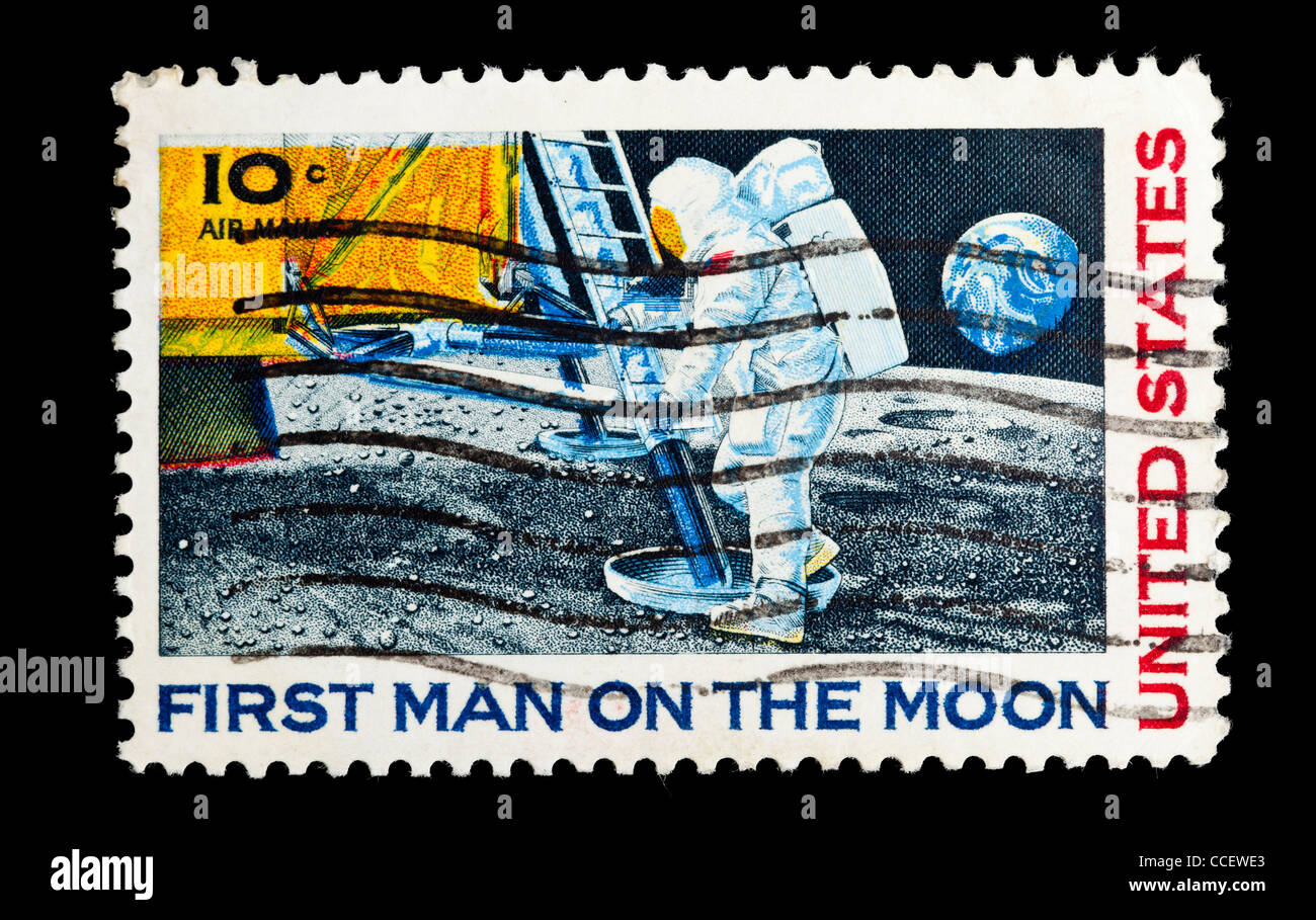 Postage Stamp United States 10c First Man On The Moon 1969 Stamped