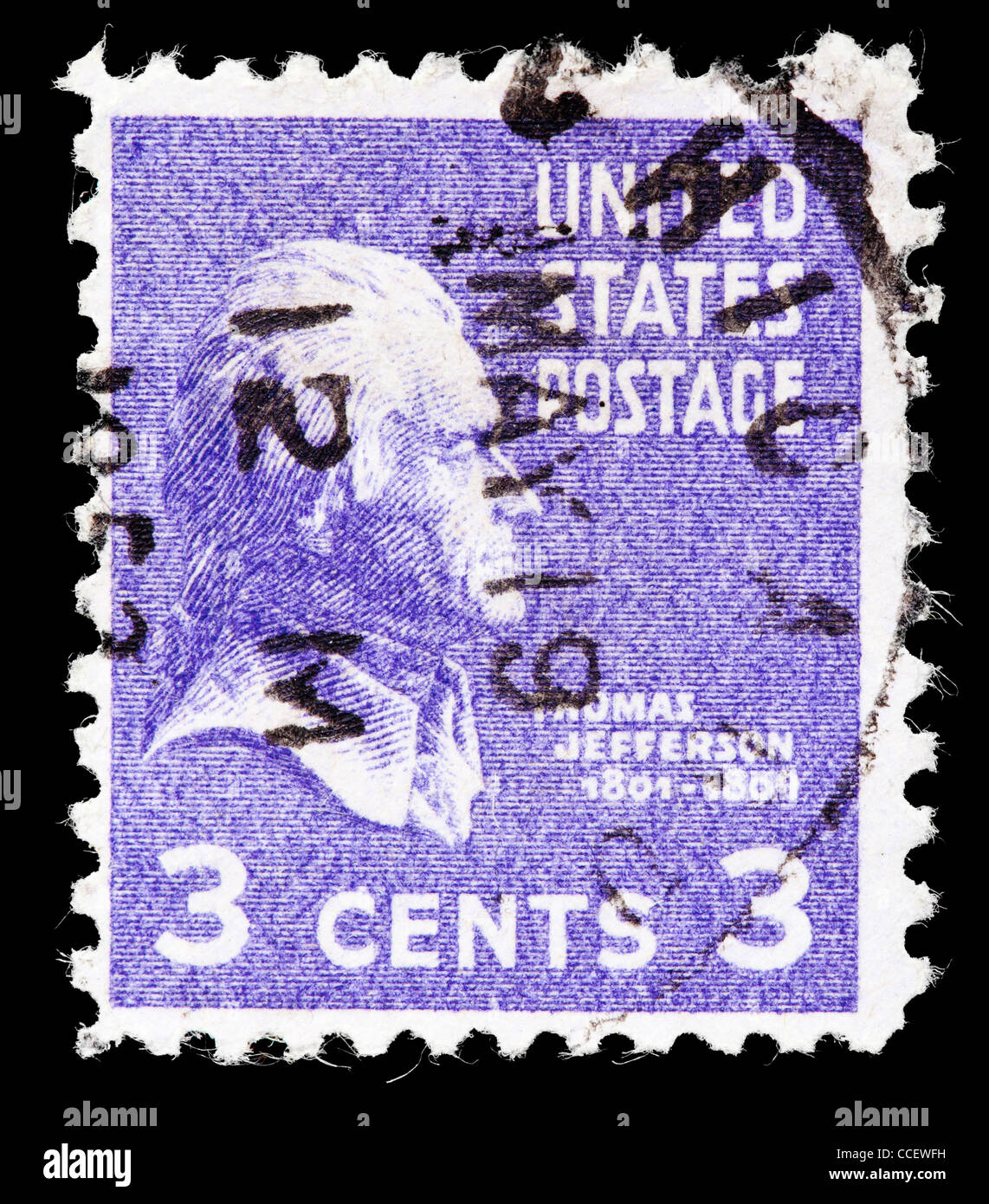 Postage Stamp United States Thomas Jefferson 3 Cent 1938 Stamped
