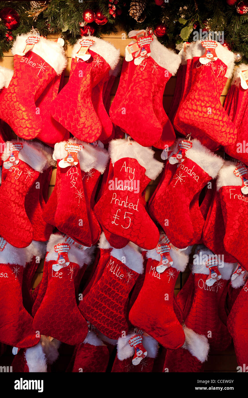Display Of Christmas Stockings Tree Decorations For Sale On A Market Stock Photo Alamy,Country Cottage Decor Uk