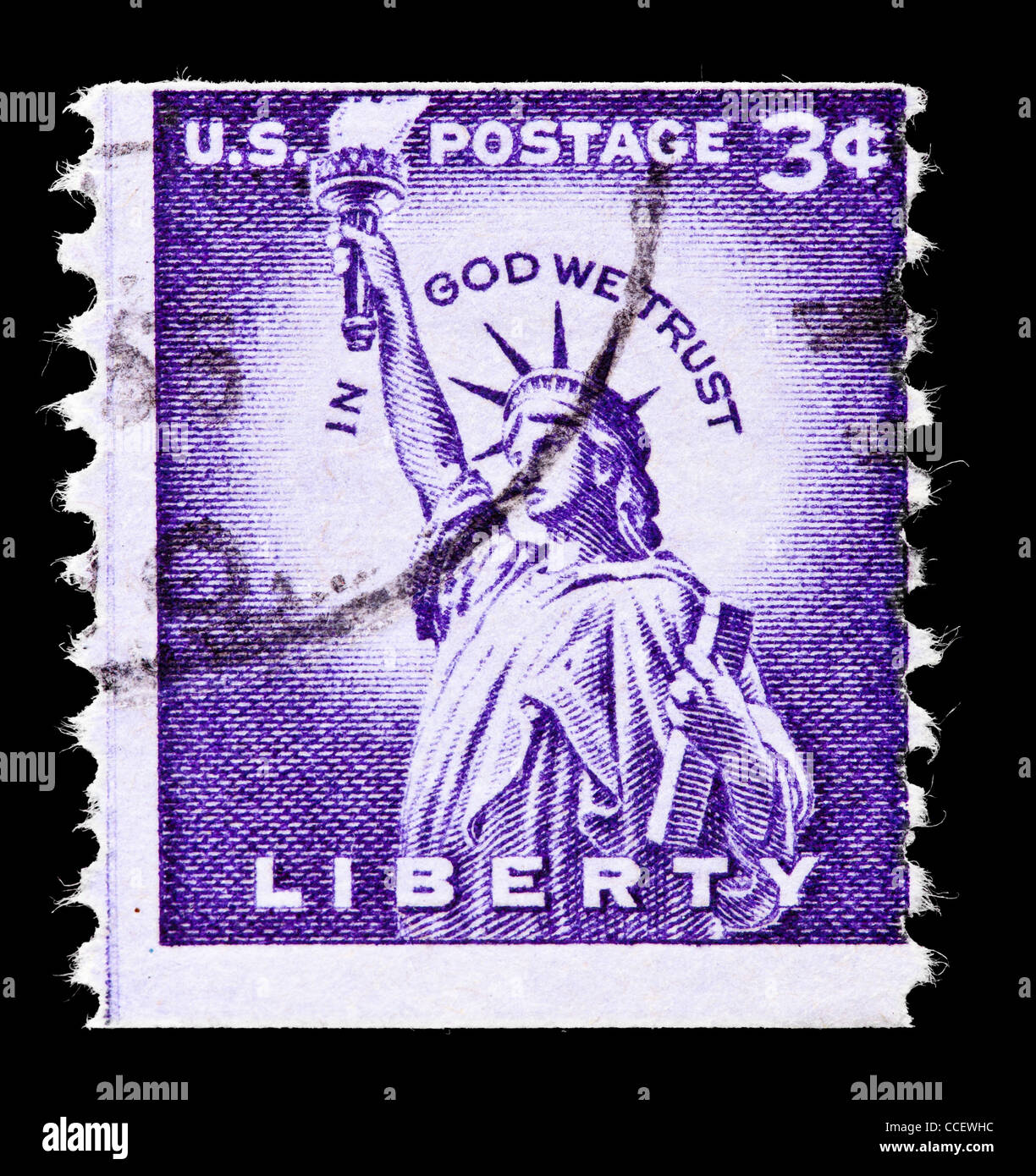 Postage Stamp United States Statue Of Liberty 3 Cent 1954 Stamped Perforated Vertically