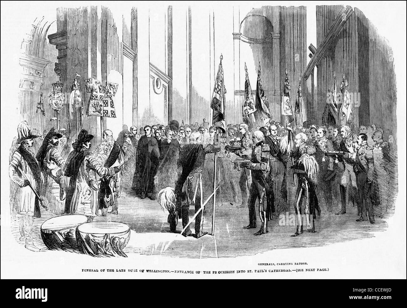Victorian engraving circa 1852 funeral of the Duke of Wellington at St Paul's Cathedral London England UK - Stock Image