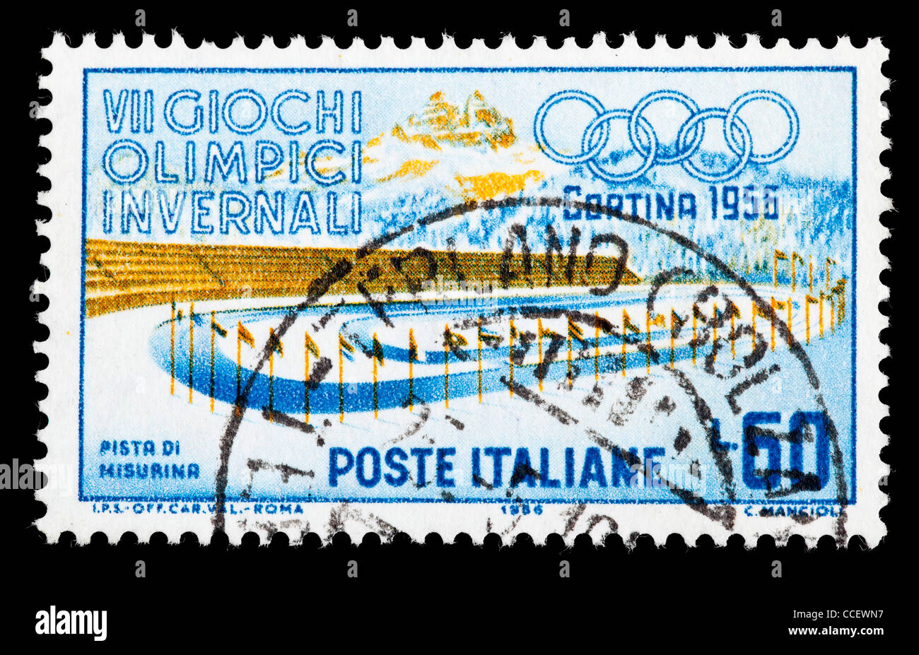 Postage stamp: VII. Olympic Winter Games 1956, Italy, stamped - Stock Image