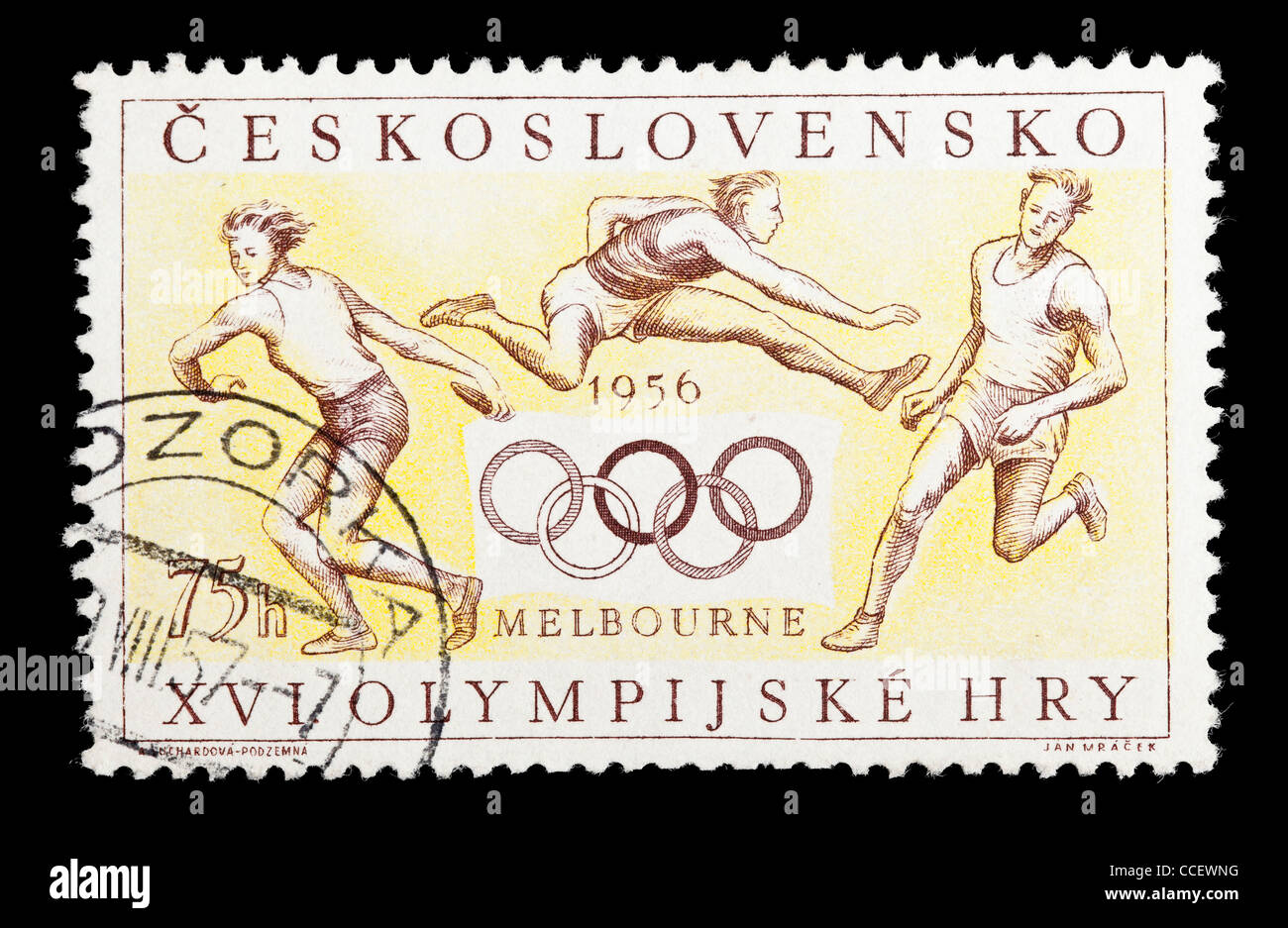 Postage stamp: XVI. Olympic Games 1956, Czechoslovakia, stamped - Stock Image