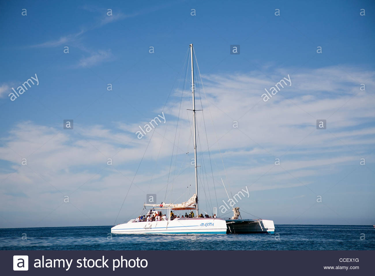 catamaran,saona,hispaniola,dominican republic,caribbean - Stock Image