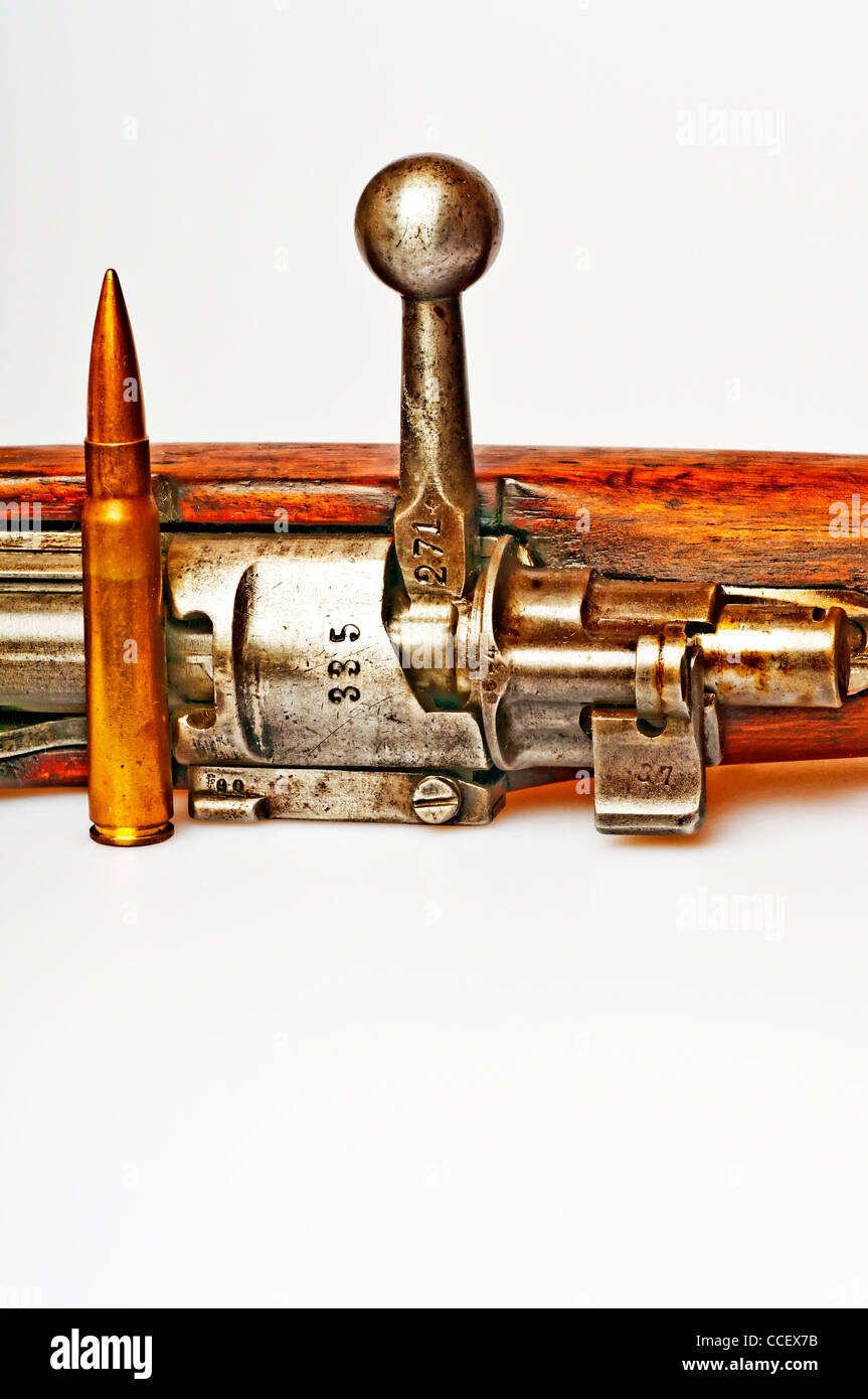 carbine with ammunition - Stock Image