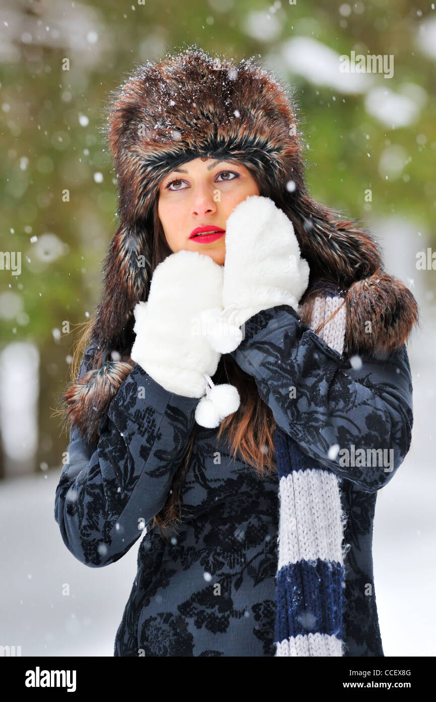 Young Beautiful Woman in winter time - Stock Image