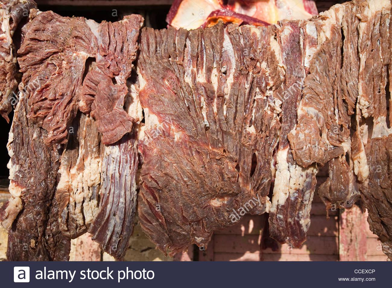 meat to dry,otra banda,hispaniola,dominican republic,caribbean - Stock Image