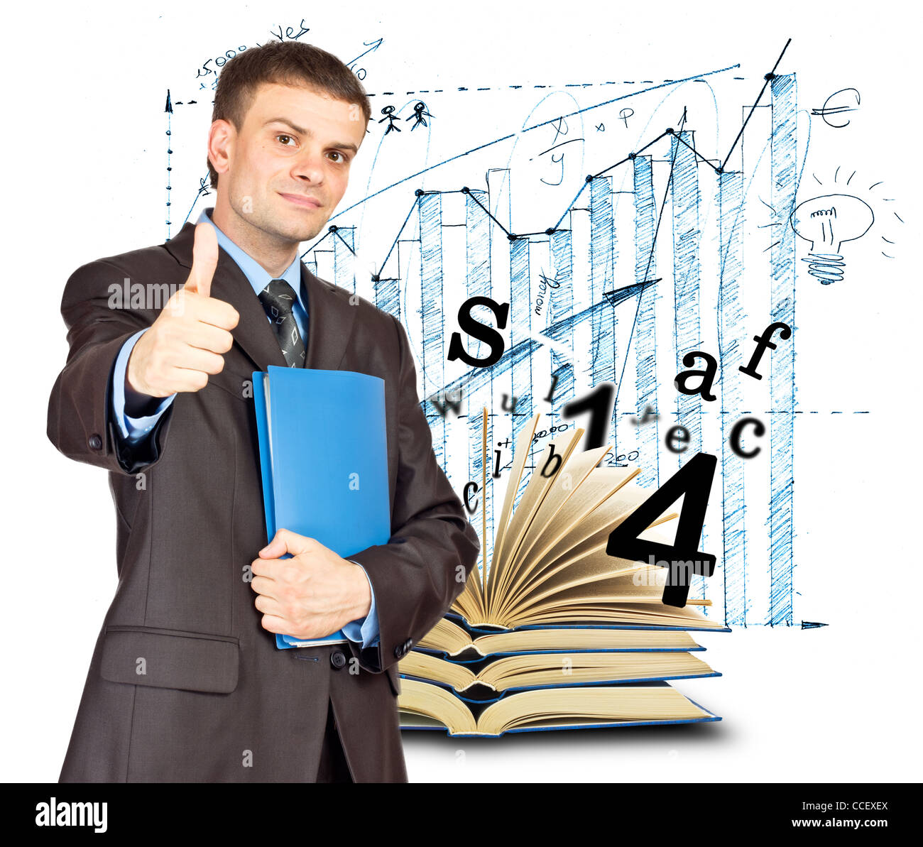 Young Businessmen making his thumb up saying OK and with folder in other hand on graph background - Stock Image