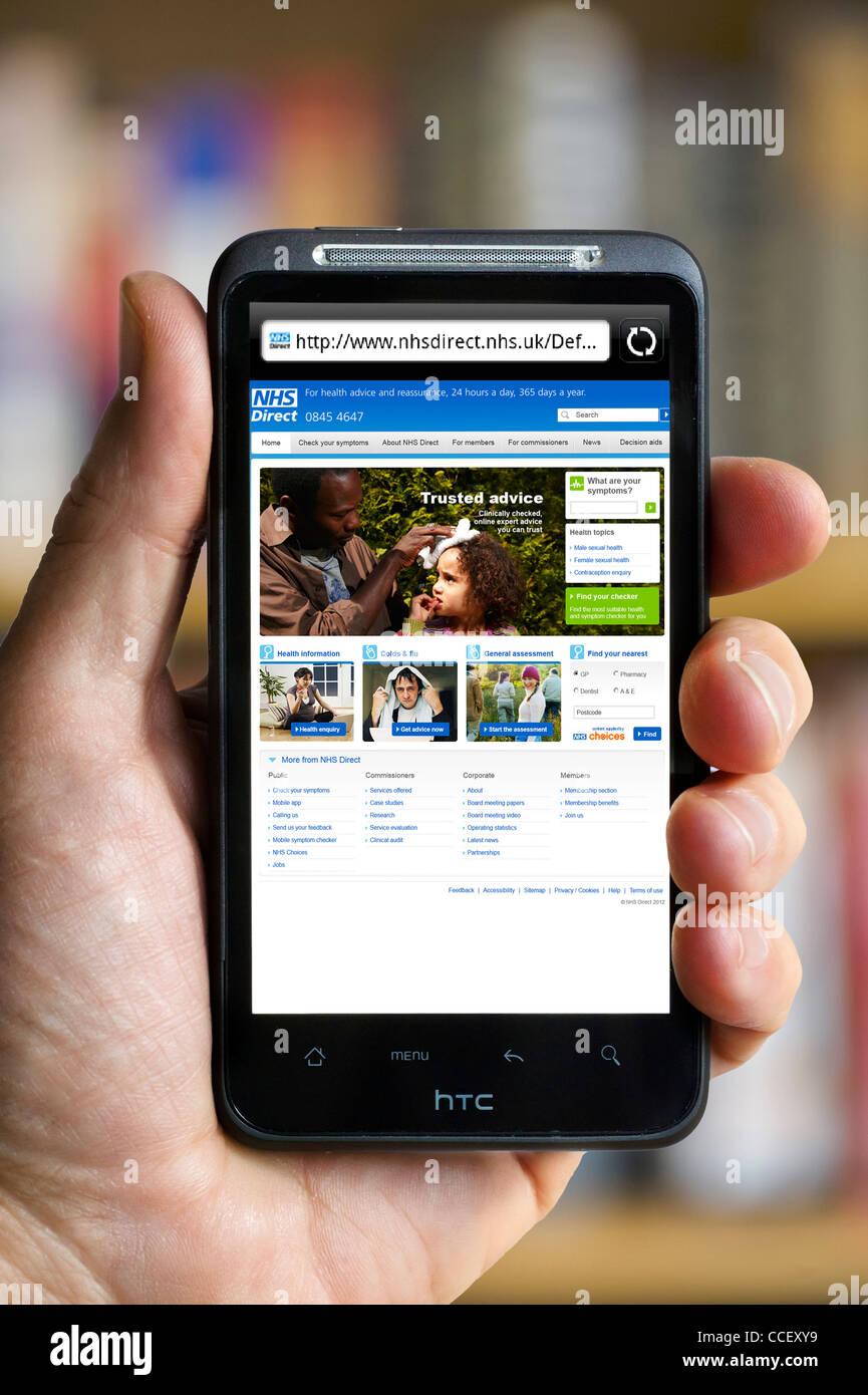 The NHS Direct health advice website viewed on an HTC smartphone, England, UK - Stock Image