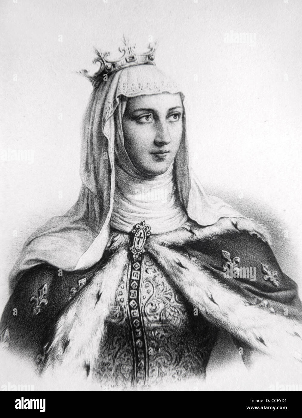 Margaret of Provence (1221-1295) Queen of France as Consort of King Louis IX, of Saint Louis. - Stock Image