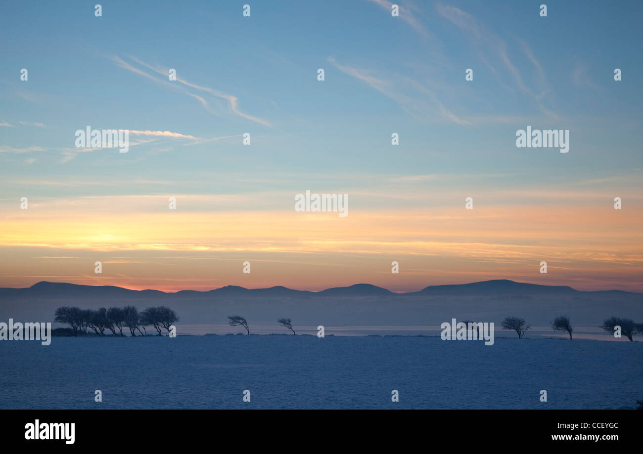 Winter sunset over the Nephin Beg Mountains, County Sligo, Ireland. - Stock Image