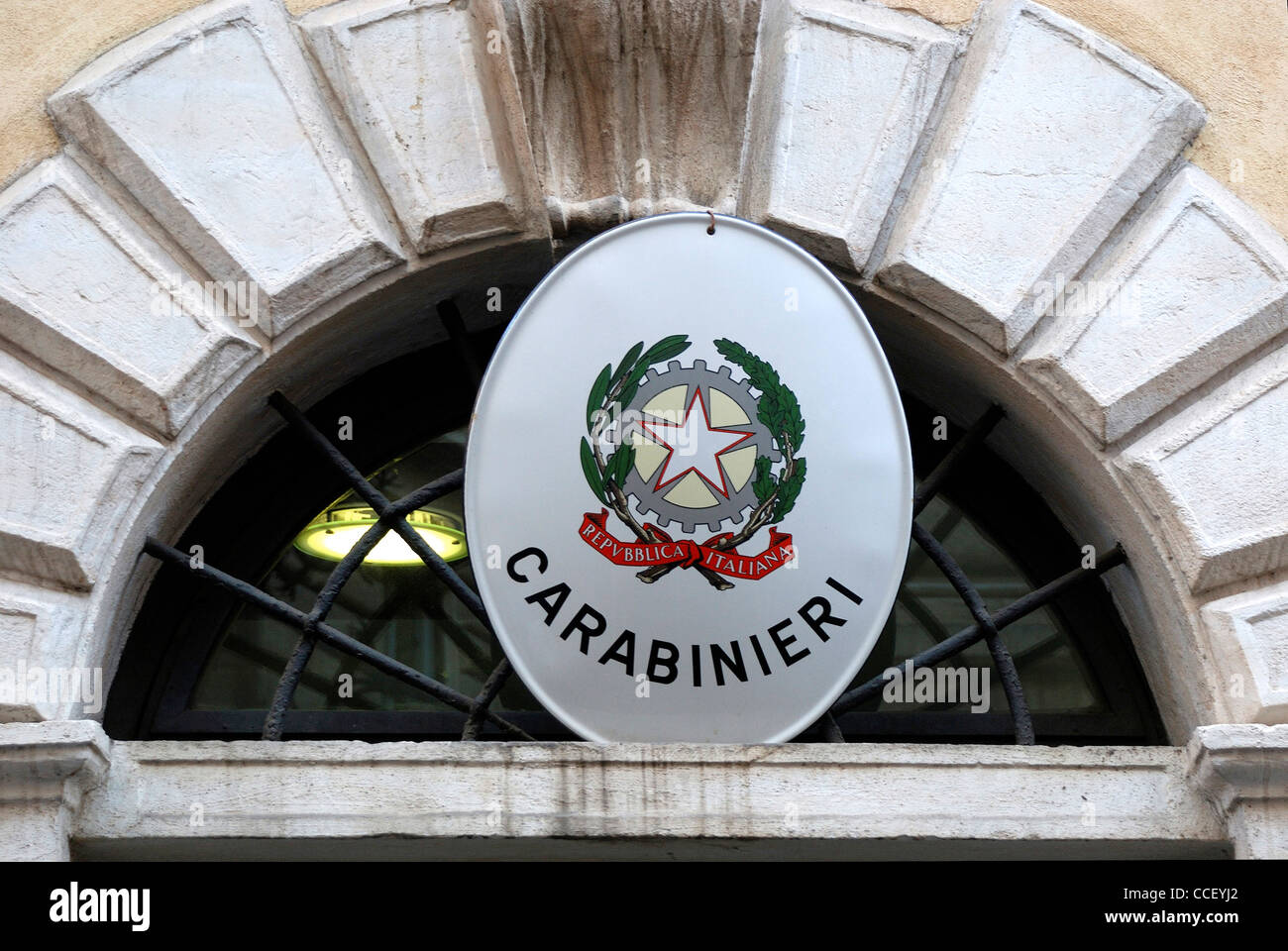 Emblem of the Carabinieri at a building of the Gendarmerie in the Italian capital Rome. - Stock Image
