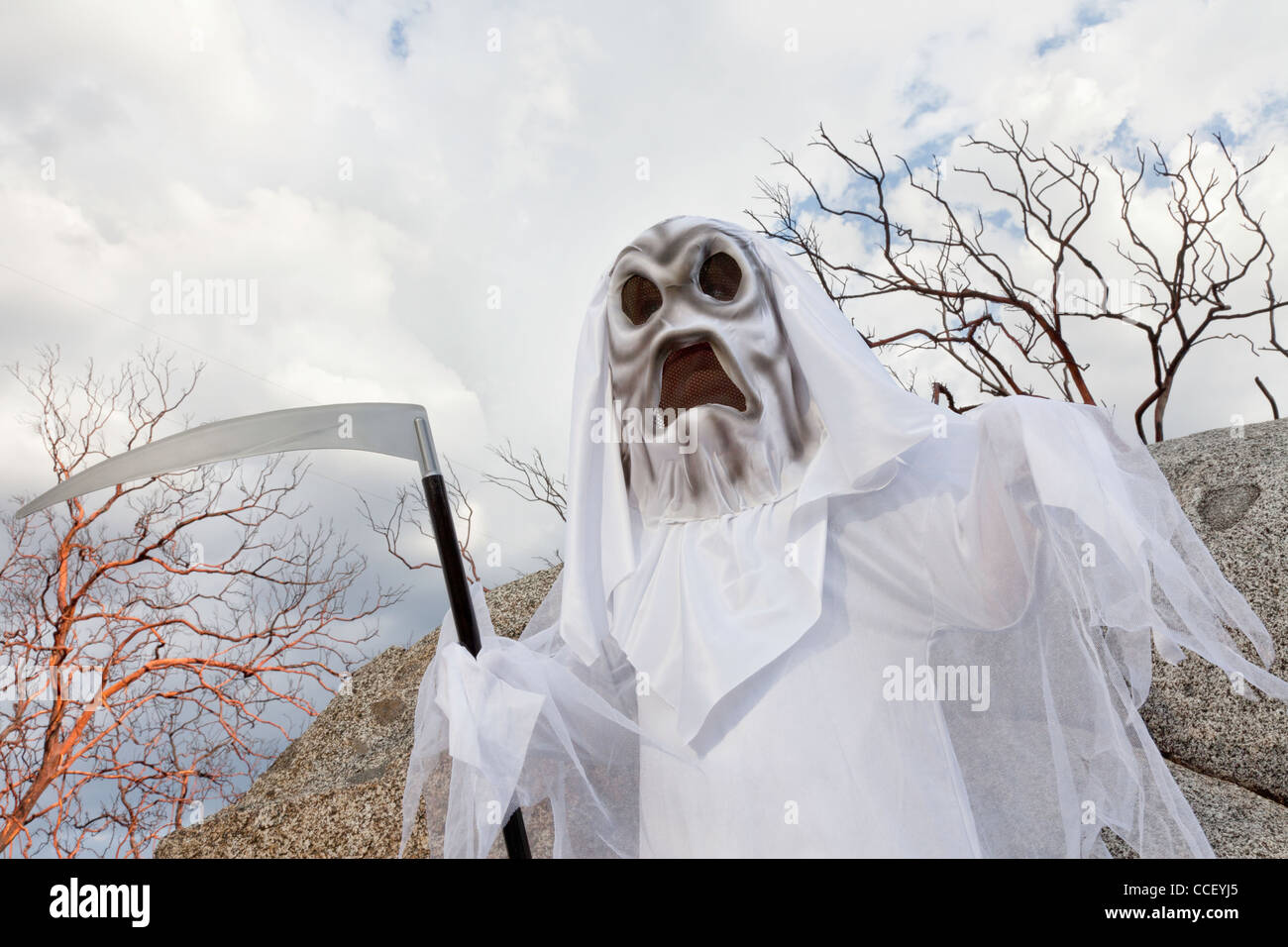 Boy dressed up as grim reaper holding scythe - Stock Image